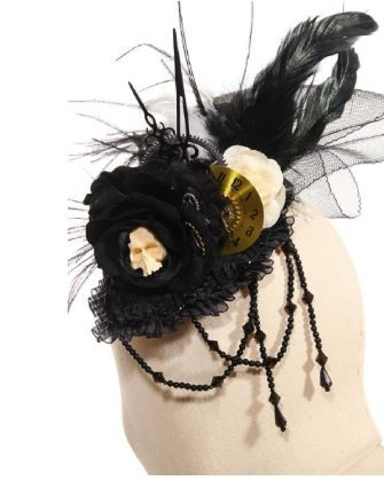Steampunk Gothic Hat Cap Tick Tock Feather Headdress in Black Feathers and Lace