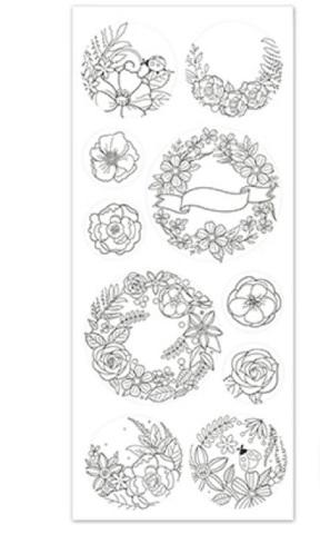 Paper Craft Stickers Scrapbooking Color Art Laurel Wreath Banner Flower