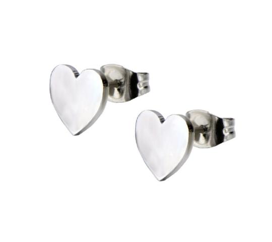 Inox Jewelry Romantic Love Heart  Stainless Steel Post Stud Earring