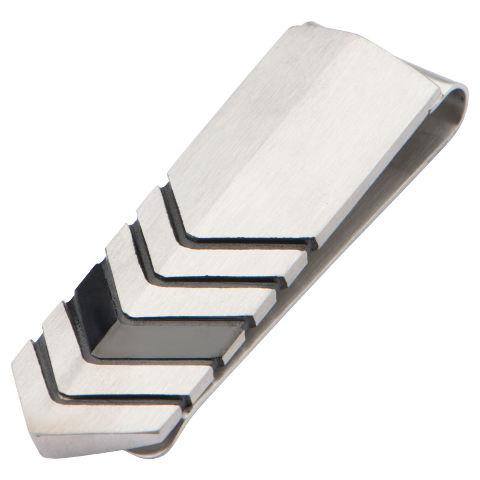 Inox Men'S Stainless Steel And Ip Black Chevron Money Clip Art Deco