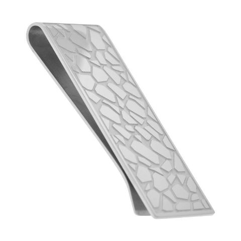 Inox Men'S Stainless Money Clip With A Pebble Steel Pattern