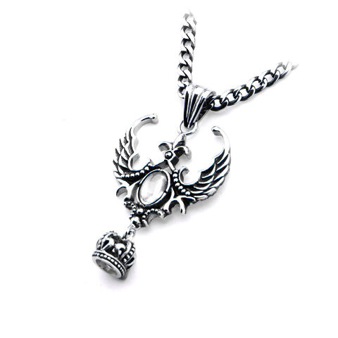Inox WomenS Goth Stainless Steel Dragon Wing Key Pendant Necklace #Ssp276Nk1