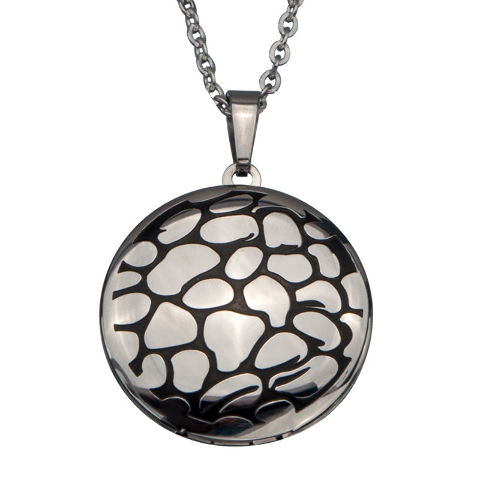 Inox Women'S Round Pebble Locket Stainless Steel Necklace Pendant #Ssp11688
