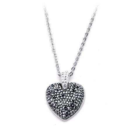 Inox Women'S Goth Stainless Steel Bling Gem Heart Pendant Necklace