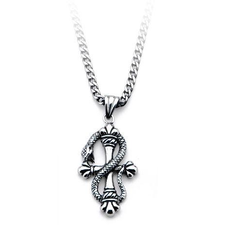 Inox Women'S Goth Stainless Steel Snake Cross Pendant Necklace #Ssp163Nk1