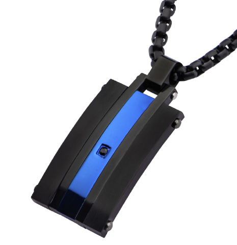 Inox Mens Stainless Steel Matte Finished Black Blue Chain & Pendant Necklace