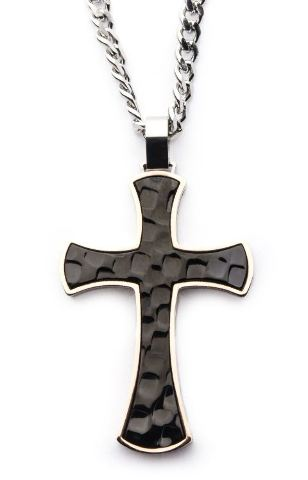 "Inox Men's Tri-Tone Hammered Cross Necklace Pendant with 22"" chain"