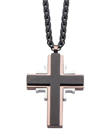 Inox Men'S Rose Gold Cross Ip Black Layered Stainless Steel Necklace and Pendant