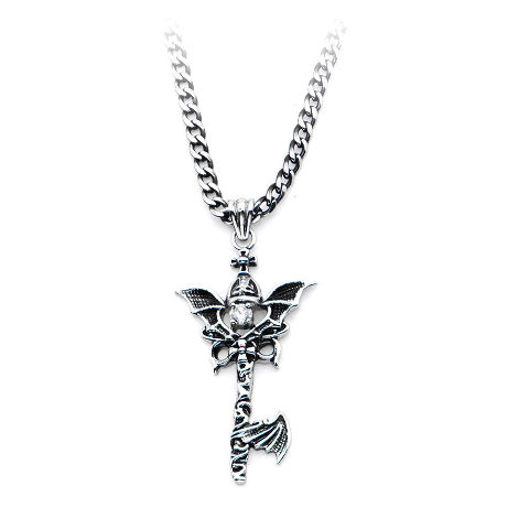 Inox Women'S Goth Stainless Steel Dragon Wing Key Pendant Necklace #Ssp276Nk1