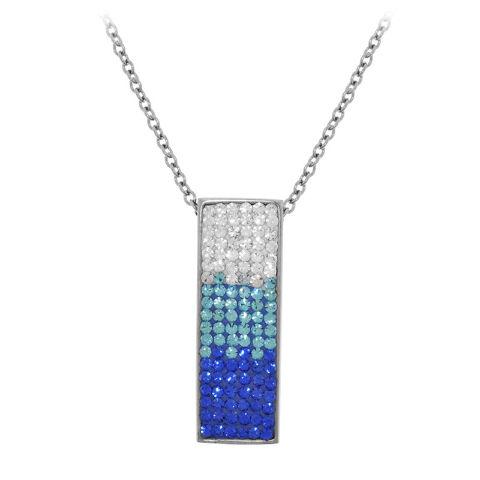 Inox Women'S Edgy Stainless Steel Pendant Ferido Setting Ice Blue Cz