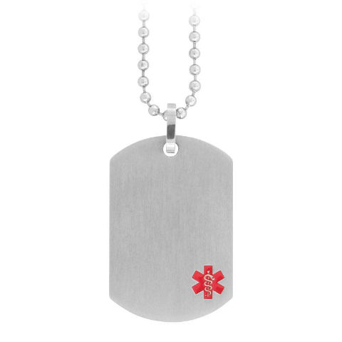 Inox Men'S Stainless Steel Silver Medical Alert Dog Tag Pendant Chain