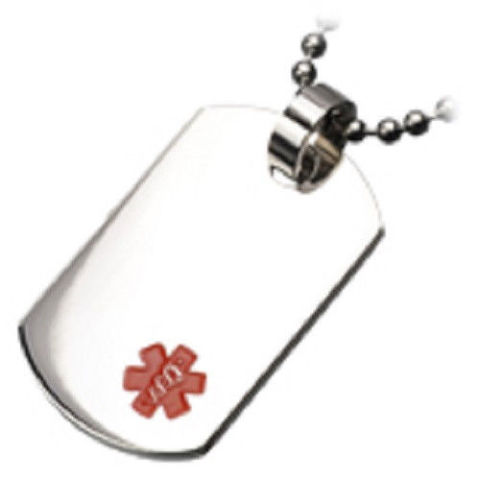 Inox Stainless Steel Medical Alert Dog Tag Pendant Necklace