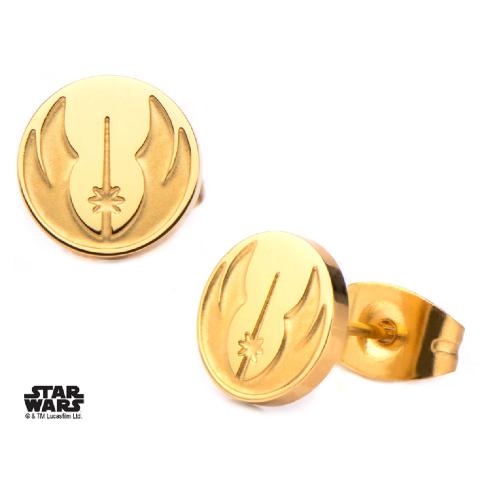 Inox Jewelry Gold Plated Jedi Symbol Star Wars Pierced Post Stud Earring