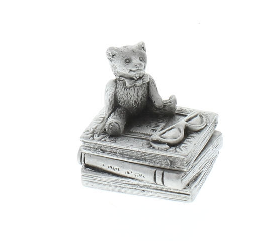 A.E. Williams Pewter Tiny Trinket Wee Box Teddy Bear on a Books Reading