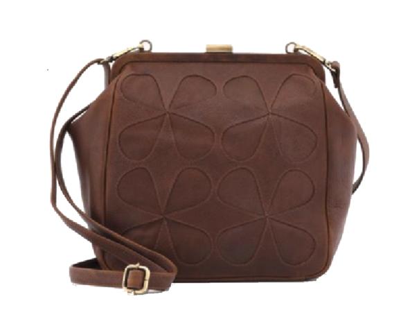 Yoshi lichfield leatherteardrop frame applique bag cross body purse