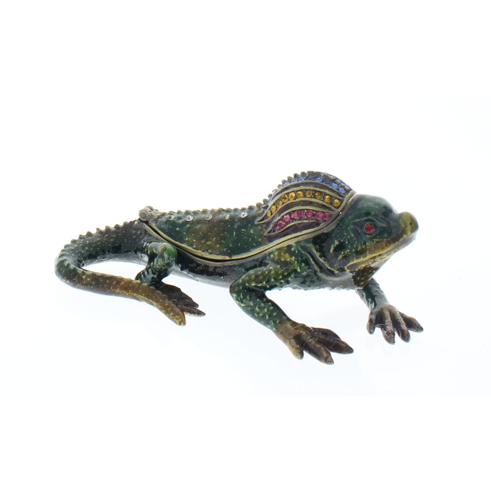 Jeweled Green Lizard Crystal Ciel Hinged Collectible Trinket Box