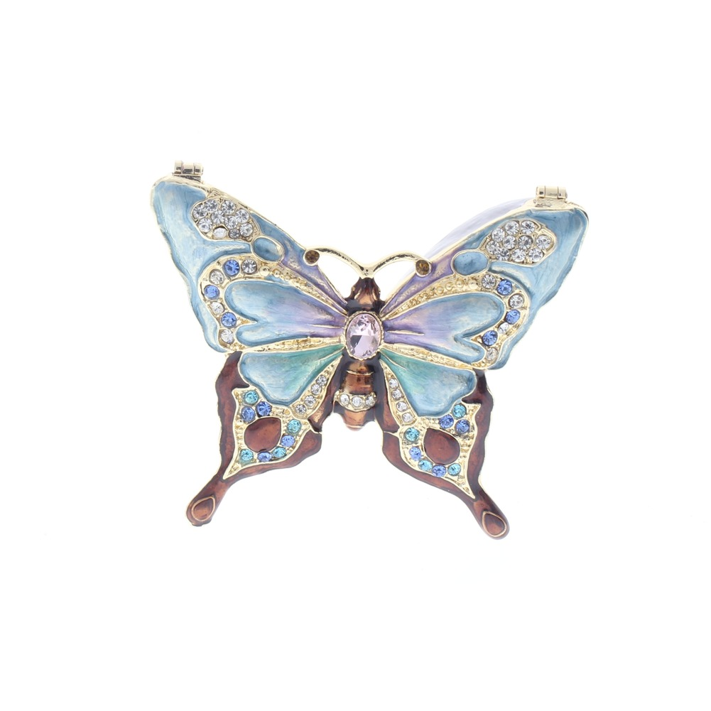 Jeweled Insect Majestic Butterfly Ciel Collectible Hinged Trinket Box Orange Blue
