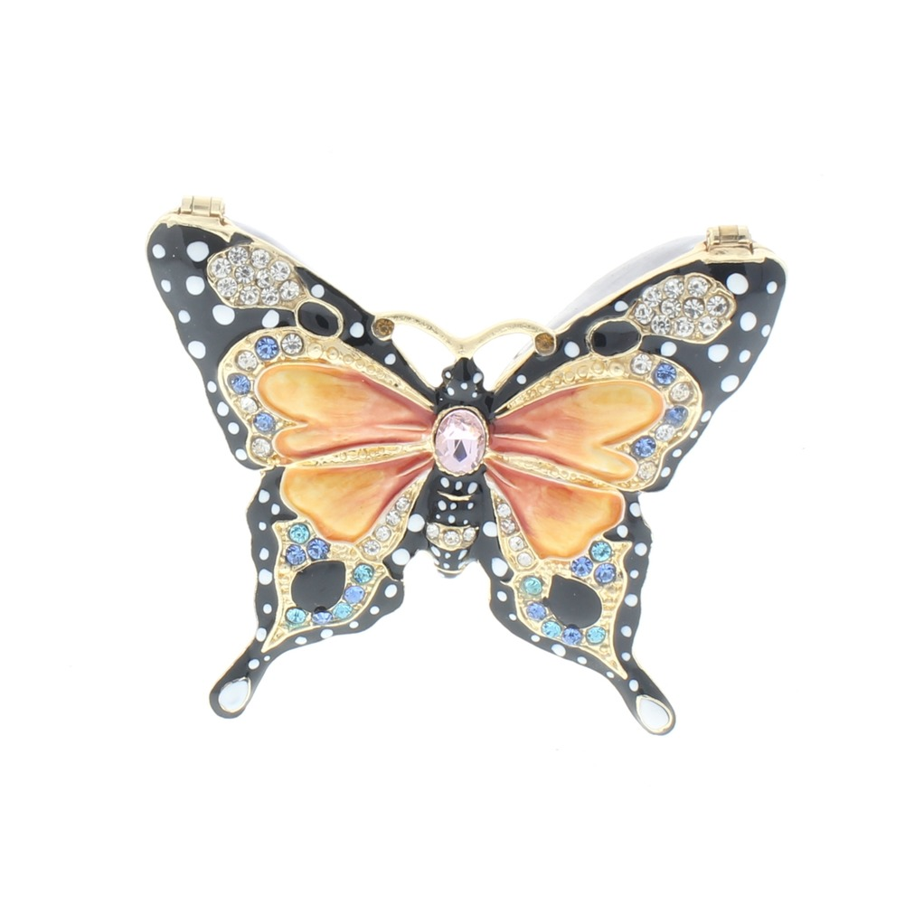 Jeweled Insect Majestic Butterfly Ciel Collectible Hinged Trinket Box Orange Black