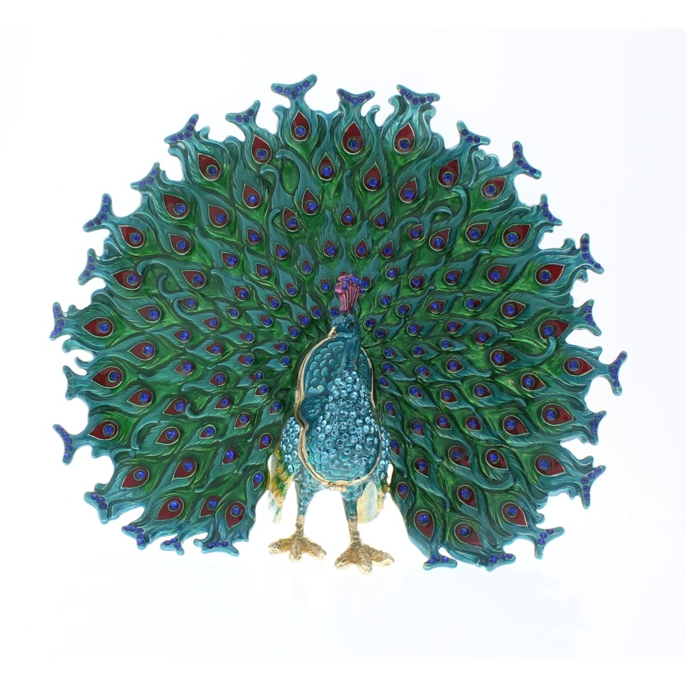 Jeweled Large Peacock Fan Tail Crystal Ciel Hinged Collectible Trinket Box