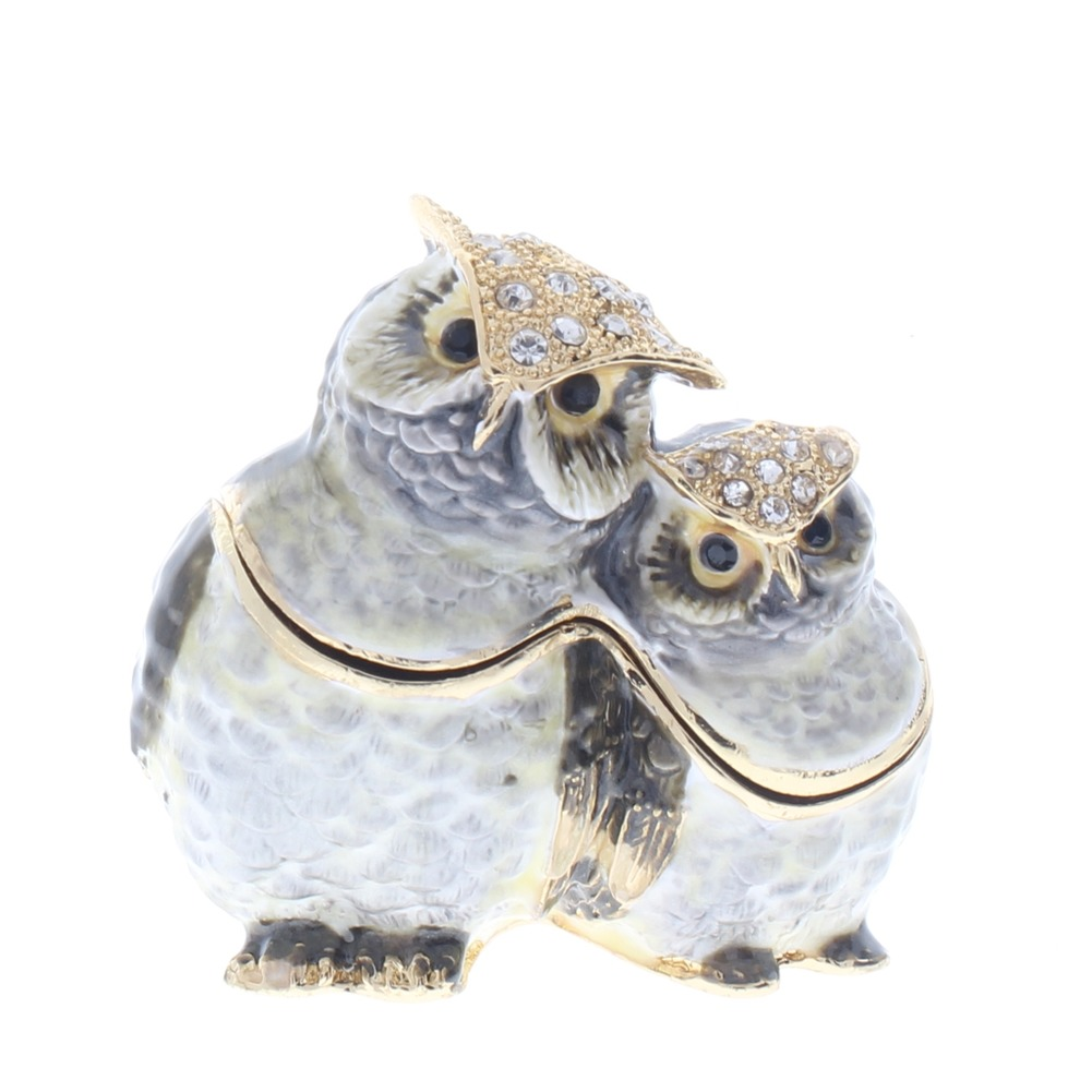 Jeweled Pair of Hoot Owls Austrian Crystal Ciel Hinged Collectible Trinket Box