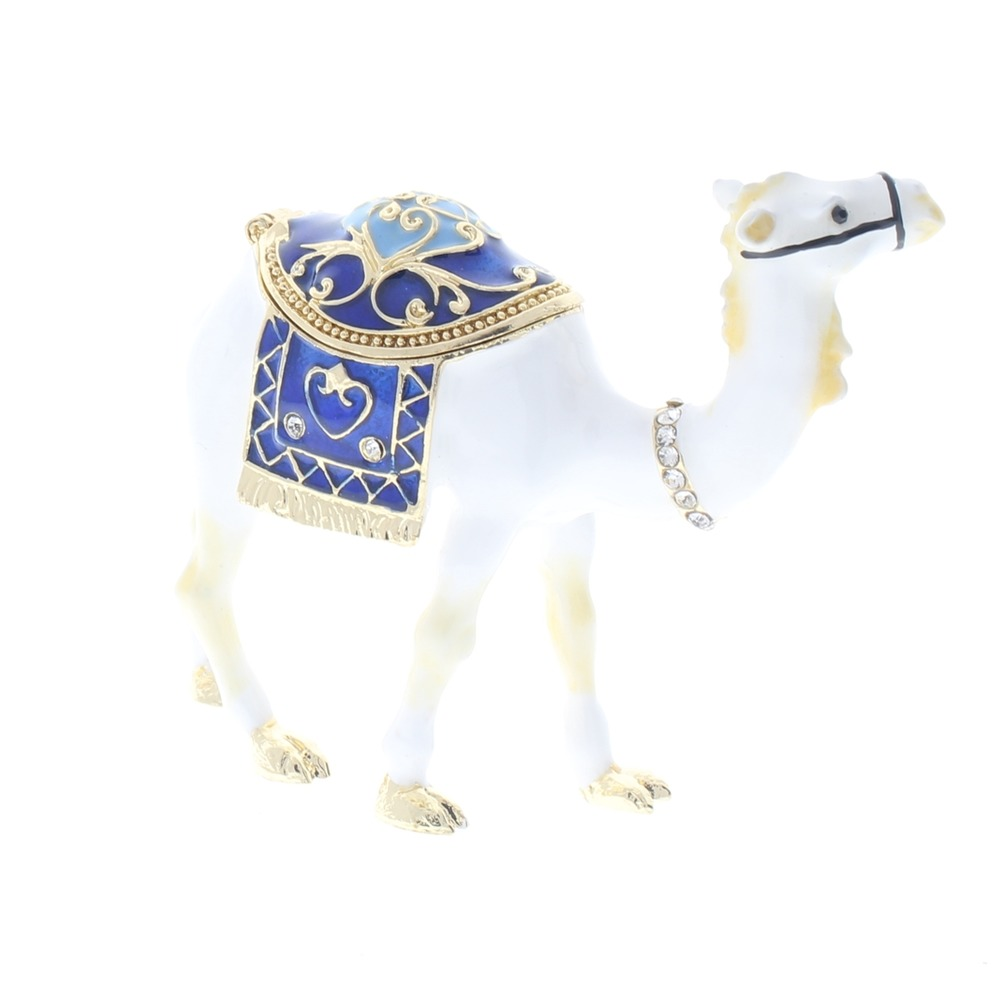 Jeweled Standing White Camel Austrian Crystal Ciel Hinged Collectible Trinket Box