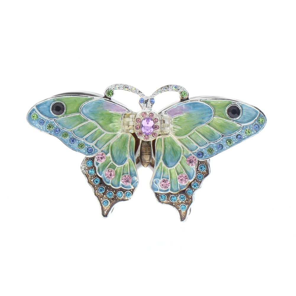 Jeweled Butterfly Blue and Green Butterfly Insect Ciel Collectible Hinged Trinket Box