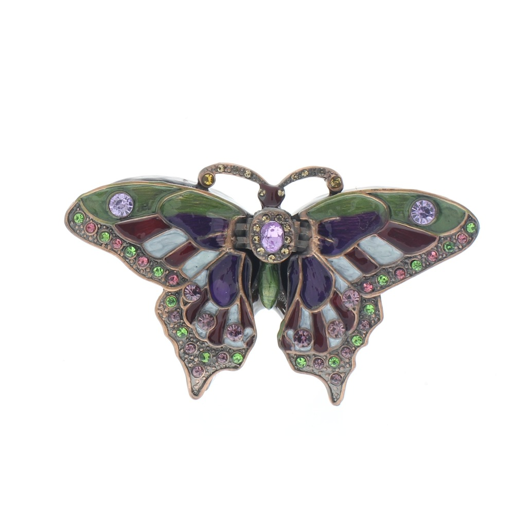 Jeweled Butterfly Green and Purple Butterfly Insect Ciel Collectible Hinged Trinket Box