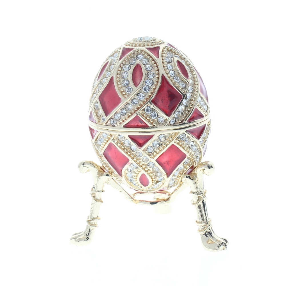 Ciel Collectible Crimson Red Faberge Style Egg Trinket Box Austrian Crystals