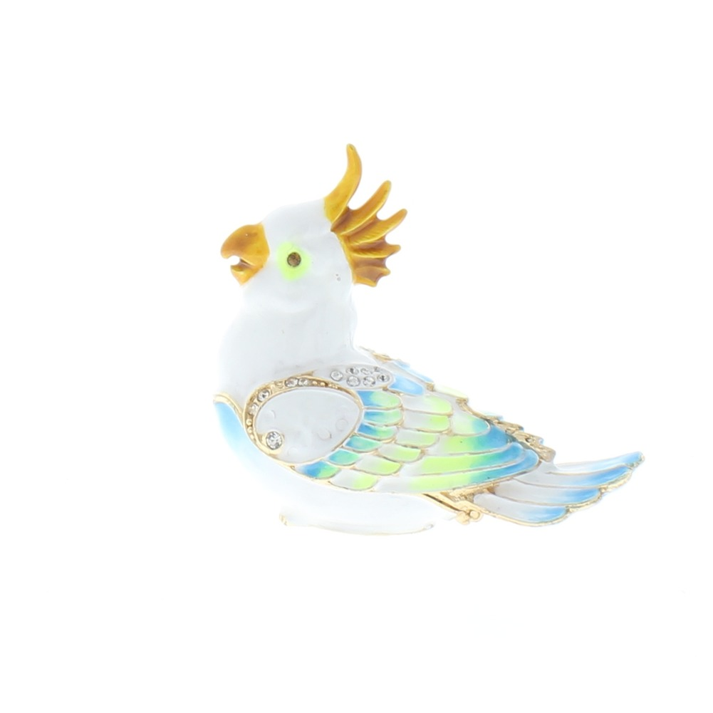 Jeweled Small Cocatoo Bird Austrian Crystal Ciel Hinged Collectible Trinket Box