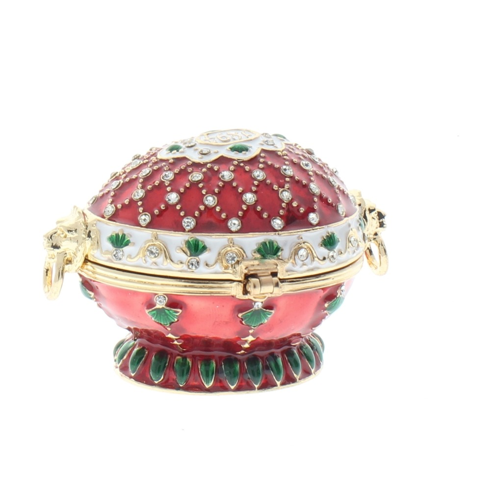 Jeweled Red Egg on a stand Austrian Crystal Ciel Hinged Collectible Trinket Box