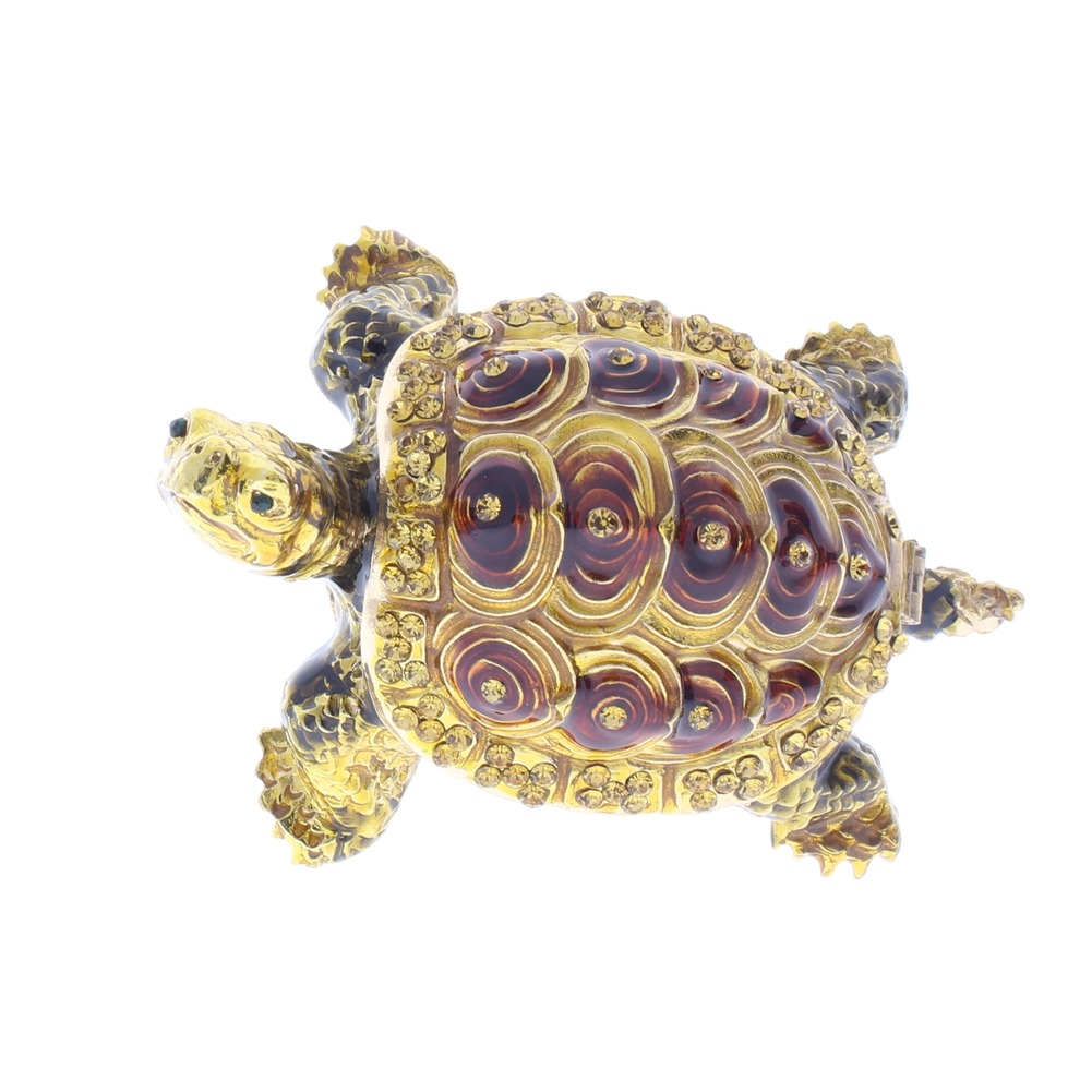 Jeweled Turtle Tortoise Austrian Crystal Ciel Hinged Collectible Trinket Box