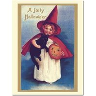 Girl With A Black Cat Halloween Greeting Card And Envelope #Shk-7