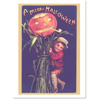 Pumpkin Scarecrow And Little Boy Halloween Greeting Card And Envelope #Shk-8