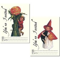 You'Re Invited Party Invitations Halloween Black Cat Pumpkin Set Of 8 #Shk-11