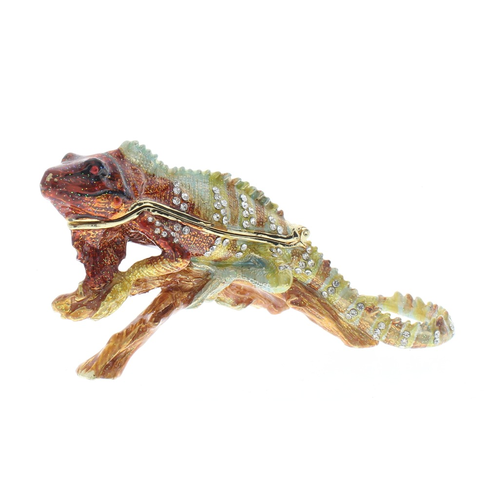 Jeweled Iguana Lizard on a Branch Ciel Collectible Hinged Trinket Box