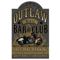 Outlaw Biker Bar and Club 3D Pub Wall Sign