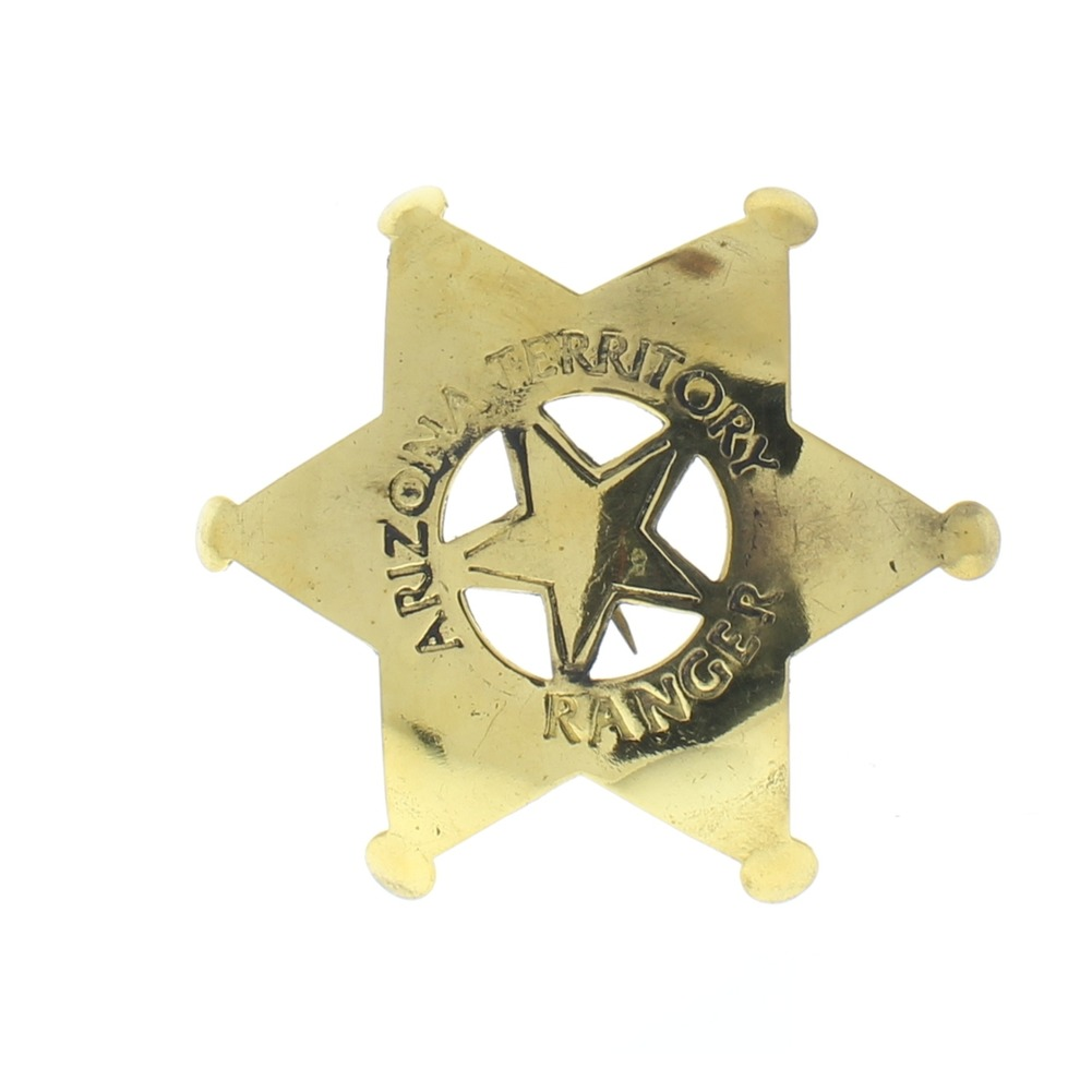 Embossed Star Arizona Territory Ranger Shiny Brass Badge Pin