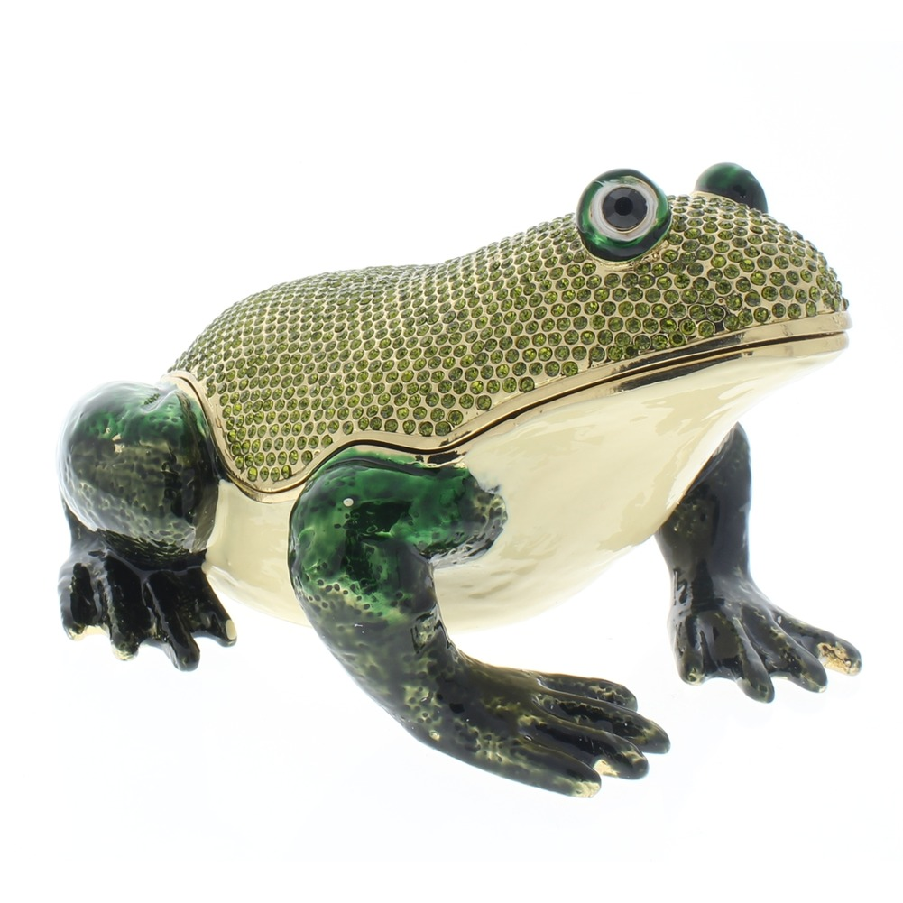 Jeweled XL Large Green Frog Crystal Ciel Hinged Collectible Trinket Box