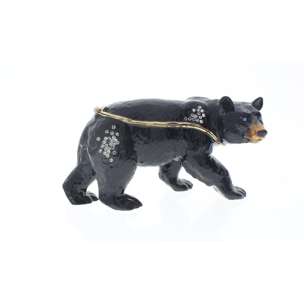 Jeweled Ciel Collectible Austrian Crystal Hinged Trinket Box Black Bear
