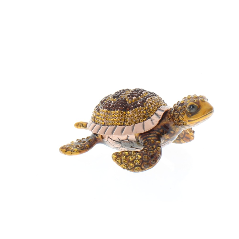 Jeweled Copper Sea Turtle Austrian Crystal Ciel Hinged Collectible Trinket Box