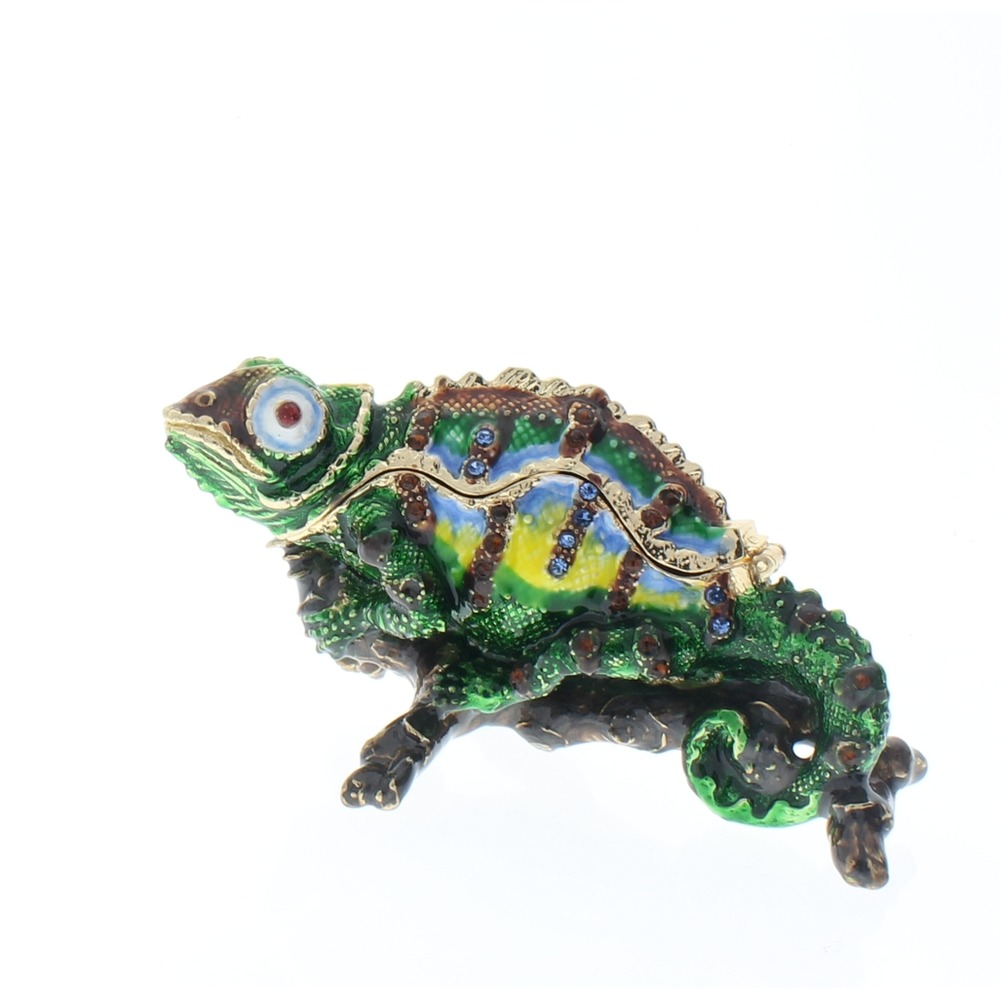 Jeweled Chameleon Lizard on Branch Crystal Ciel Hinged Collectible Trinket Box