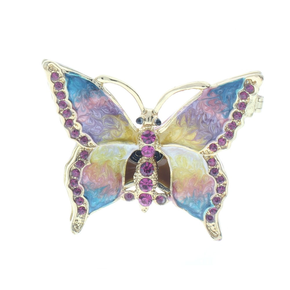 Jeweled Rainbow Butterfly Insect Crystal Ciel Hinged Collectible Trinket Box