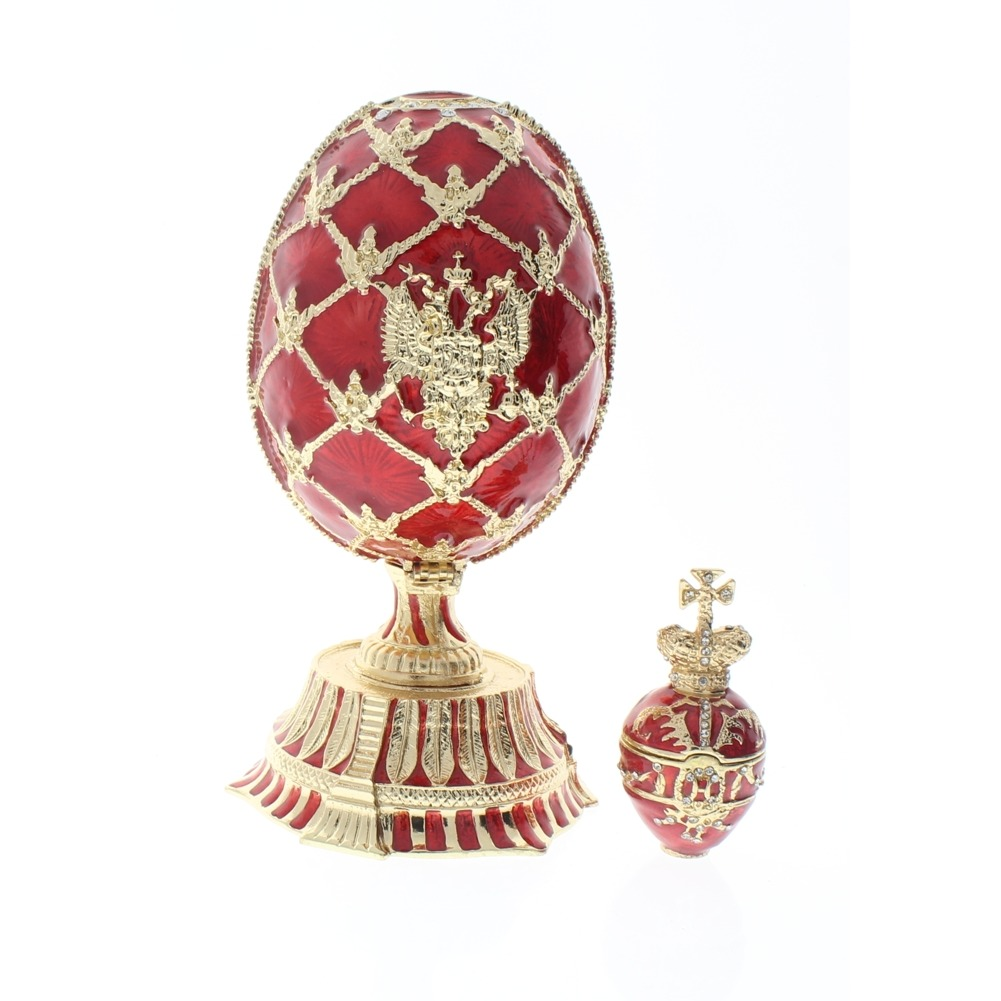 Jeweled Egg with Clock Austrian Crystal Ciel Hinged Collectible Trinket Box