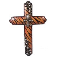 Montana West Western Inspirational Cross Tiger Stripe Design Fleur Di Lis