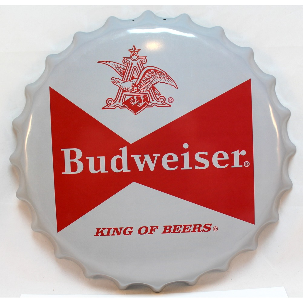 Budweiser Beer Logo Bottlecap Round Metal Sign Pub Game Room Bar Garage