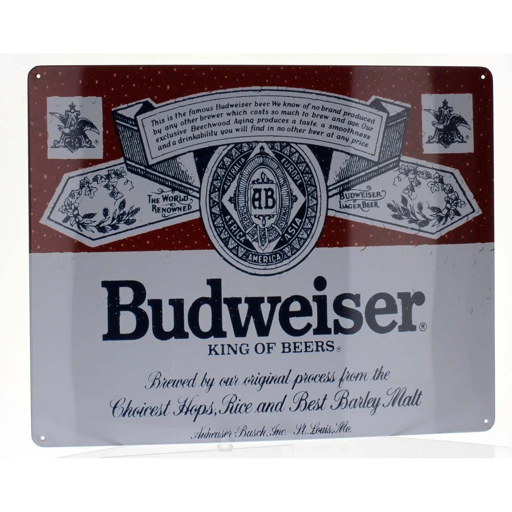 Budweiser Vintage Label King of Beers Metal Sign Pub Game Room Bar