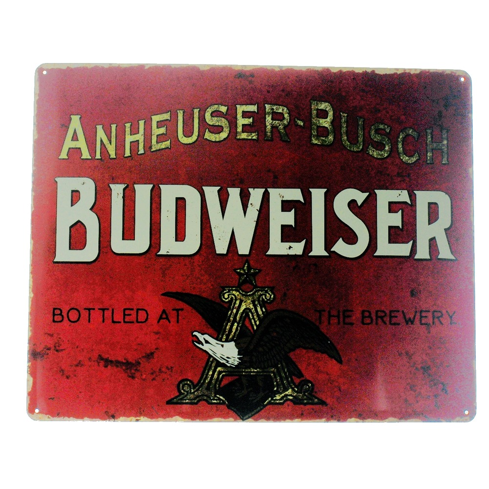 Anheuser Busch Budweiser Metal Sign Pub Game Room Bar