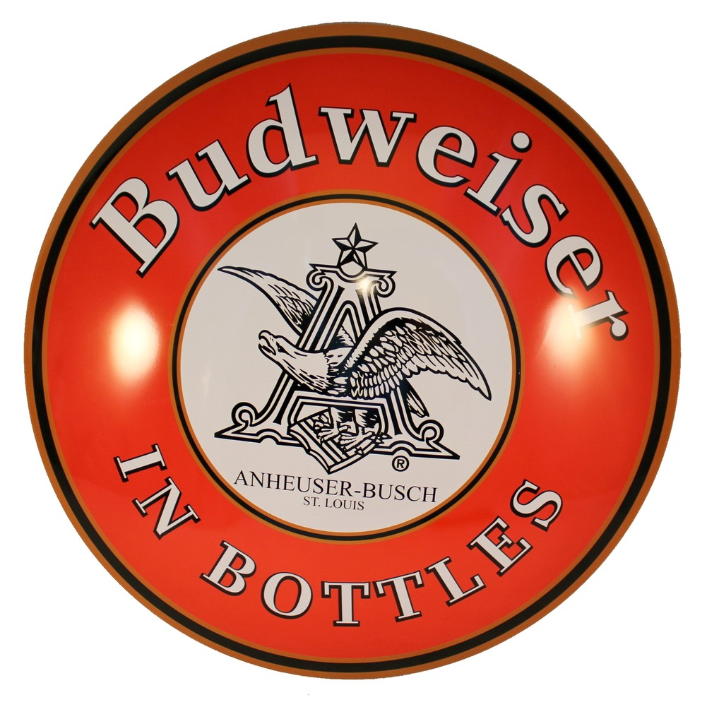 Budweiser Beer Logo Round Dome Metal Sign Pub Game Room Bar Garage