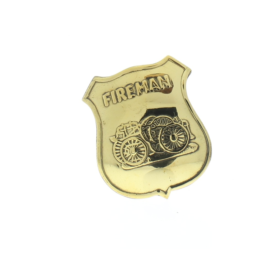 Embossed Fireman Shiney Brass Badge Pin Great for Reinactments