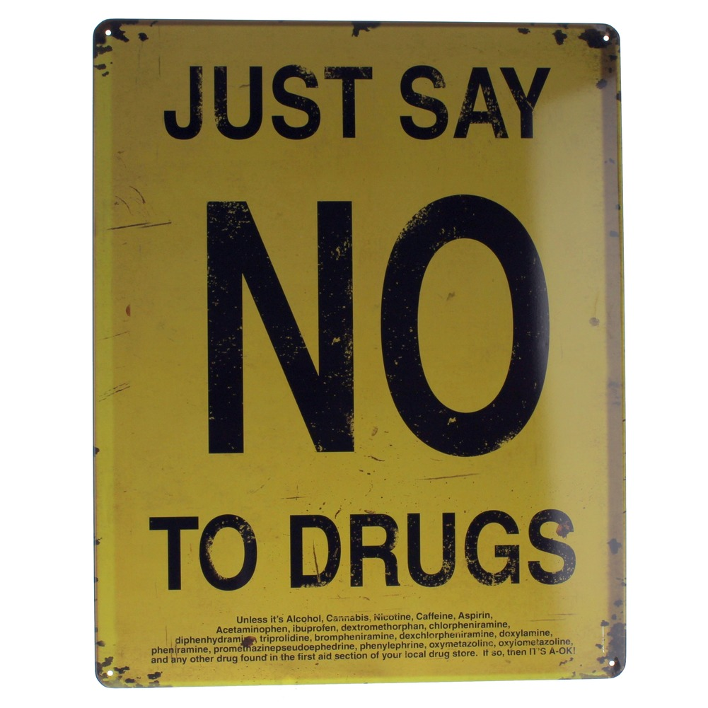 Just Say No to Drugs but Read the Fine Print Metal Sign Pub Game Room Bar